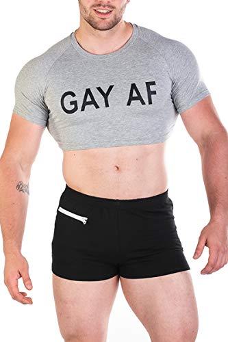Af Shirt - Men's Fun Cropped Tee Fitness Slim Fit Crop Top T Shirt,Gay Af,Large