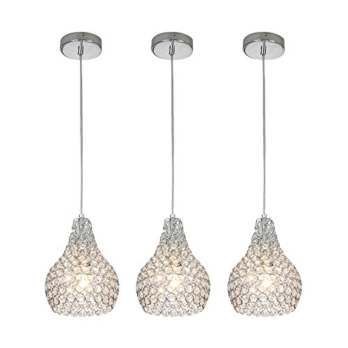 GLANZHAUS 3 Lights Chrome Finish Mini Silver Round Clear Crystal Pendant Light, Hanging Chandelier Pendant Ceiling Lamp Fixture
