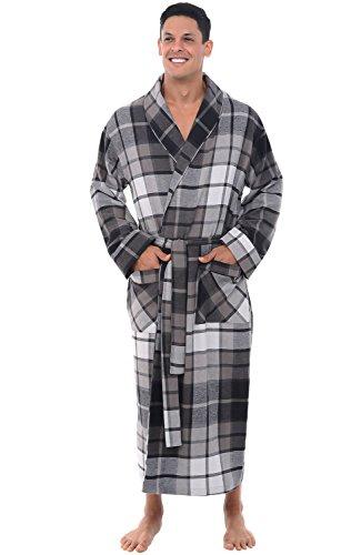 (Alexander Del Rossa Mens Warm Lightweight Cotton Flannel Robe, Medium Black and Grey Plaid (A0707Q36MD))