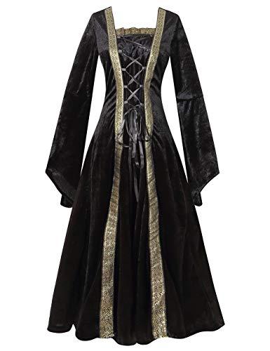 Colorful House Plus Size Medieval Dress, Renaissance Princess Costume for Women(Black, Large) -