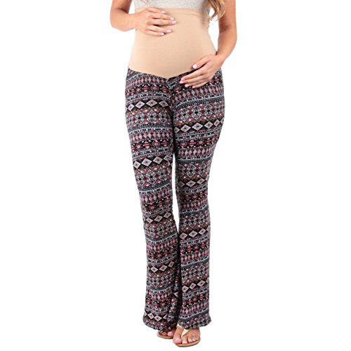 Women's Strechy Maternity Palazzo Pants with Tummy Control by Rags and Couture- Made in USA (Small, Tribal Pink)
