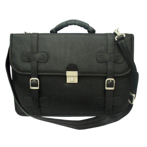 Piel Leather XXL Flap-Over Portfolio, Black, One Size