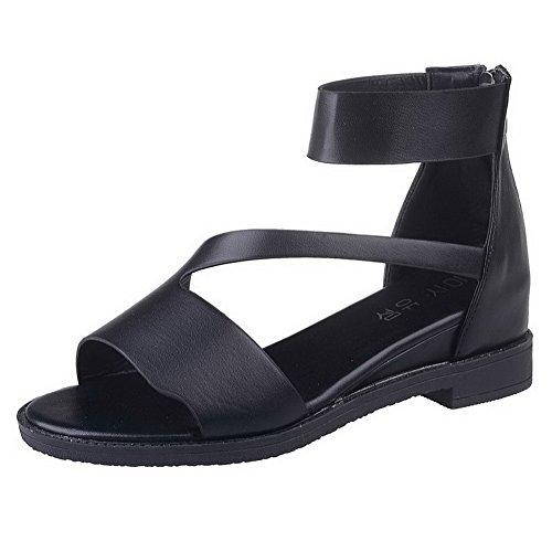 con y sandalias cm tacones AalarDom punta para bajos abierta Zipper mujer con sólidas 3 qwzZxYFw