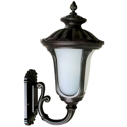 Yosemite Home Decor FL5318UBL Tori Collection 11-Inch Fluorescent Exterior Sconce Black Frame with Frosted Glass