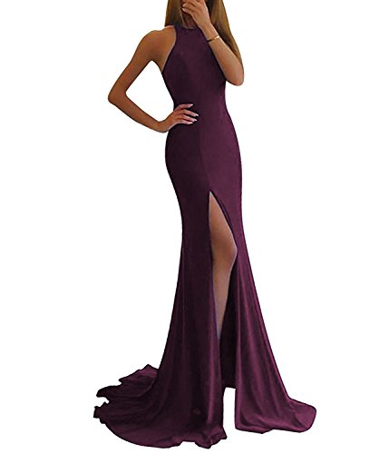 LL Bridal Women's Sheer Neck Mermaid Evening Dresses 2018 Long Prom Formal Gown with Slit Grape Size 10