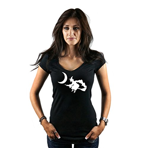 Women's Witch Flying Broom Moon Spooky Silhouette Halloween T-Shirt XX-Large Black