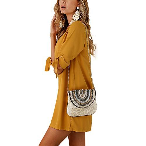 Top Oficina Cuello de Beauty Redondo Casual para Vestido Fiesta Vestir Larga Muchos Casual Lover Vendaje Vendaje Puro Manga Colores Camisa Amarillo vOW1TSq