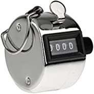 CAVLA Stainless Metal 4 Digits Hand-Held Tally Counter Numbers Clicker with A Metal Hoop for Convenient Carr