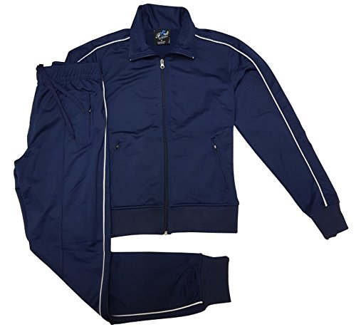 Navy Blue Tracksuit (Women's Athletic Sports Exertion Tracksuit Outfit Trackpant and Track Jacket Jogger Gym Casual Wear Set (Navy Blue, M))