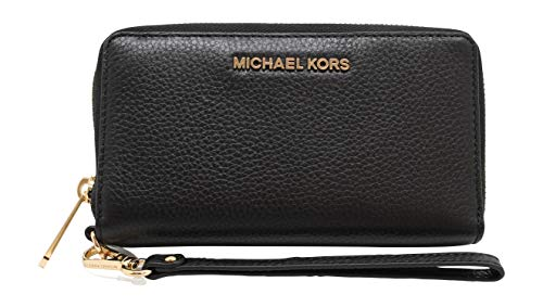 Michael Kors Jet Set Travel Large Flat Multifunction Phone Case Wristlet Pebble Leather