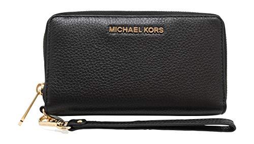 Michael Kors Jet Set Travel Large Flat Multifunction Phone Case Wristlet Pebble Leather