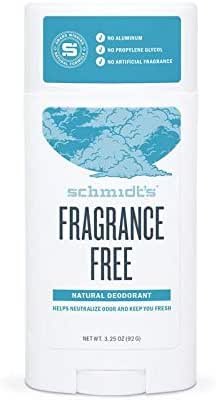 Schmidt's Natural Deodorant - Fragrance-Free, Unscented, Aluminum-Free Odor Protection & Wetness Relief, 3.25 Ounce