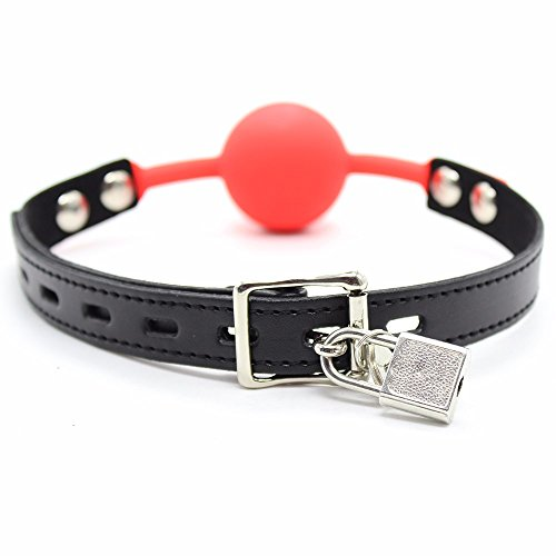 FEESHOW Buckle Belt Silicon Dog Bone Mouth Gag Paly Ball For Men Woman Red With Lock One Size