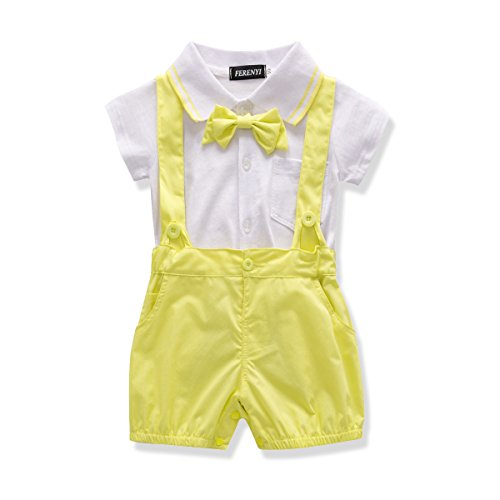 (FERENYI US Baby Boys Bowtie Gentleman Romper Jumpsuit Overalls Rompers (13-18 Months, Yellow 1))