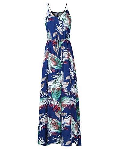Leadingstar Women's Spaghetti Strap Floral Beach Maxi Long Dress (Blue Leaf, S) from Leadingstar