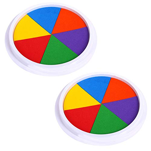 (EORTA 2 Pack Craft Ink Pads Stamps Partner 6 Vivid DIY Colors in Round Box Finger Painting Pigment Ink Craft Stamp Pad for Stamps, Paper, Wood, Fabric, for Kid's Rubber Stamp, Scrapbooking Cards)