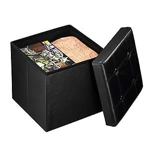 Harima Atlantis - Puf Otomana plegable y reposapiés, con espacio para almacenar mantas o juguetes, 38 x 38 x 38 cm, carga máxima 300 kg, piel PVC, color negro