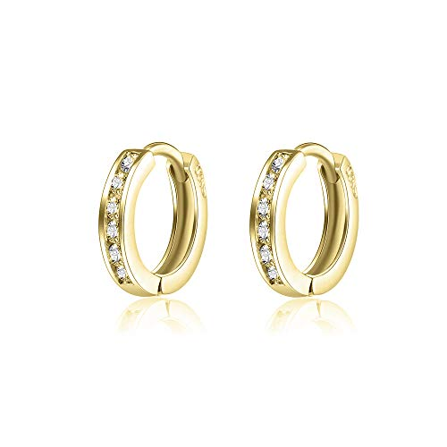 AOBOCO 925 Sterling Silver Small Gold Hoop Earrings 14k Gold Plated Cartilage Cubic Zirconia Cuff Hoop Hinged Earring Stud for Women Girls