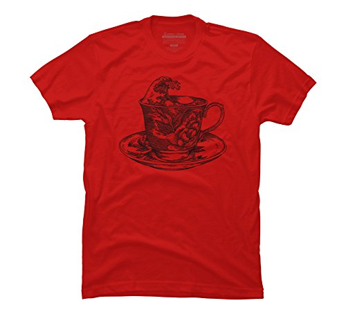 classic cup of coffee and the oriental wave Men's 3X-Large Red Graphic T Shirt