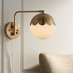 Interior Lighting Kelowna Modern Swing Arm Wall Lamp Antique Brass Plug-in Light Fixture Globe Glass Shade for Bedroom Bedside Living Room… modern wall sconces