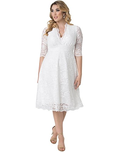 Kiyonna Women's Plus Size Wedding Belle Dress 1X Ivory