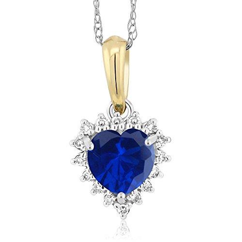 Gem Stone King 18K 2-Tone Simulated Sapphire and Diamond Heart Shape Pendant 0.61 Ct