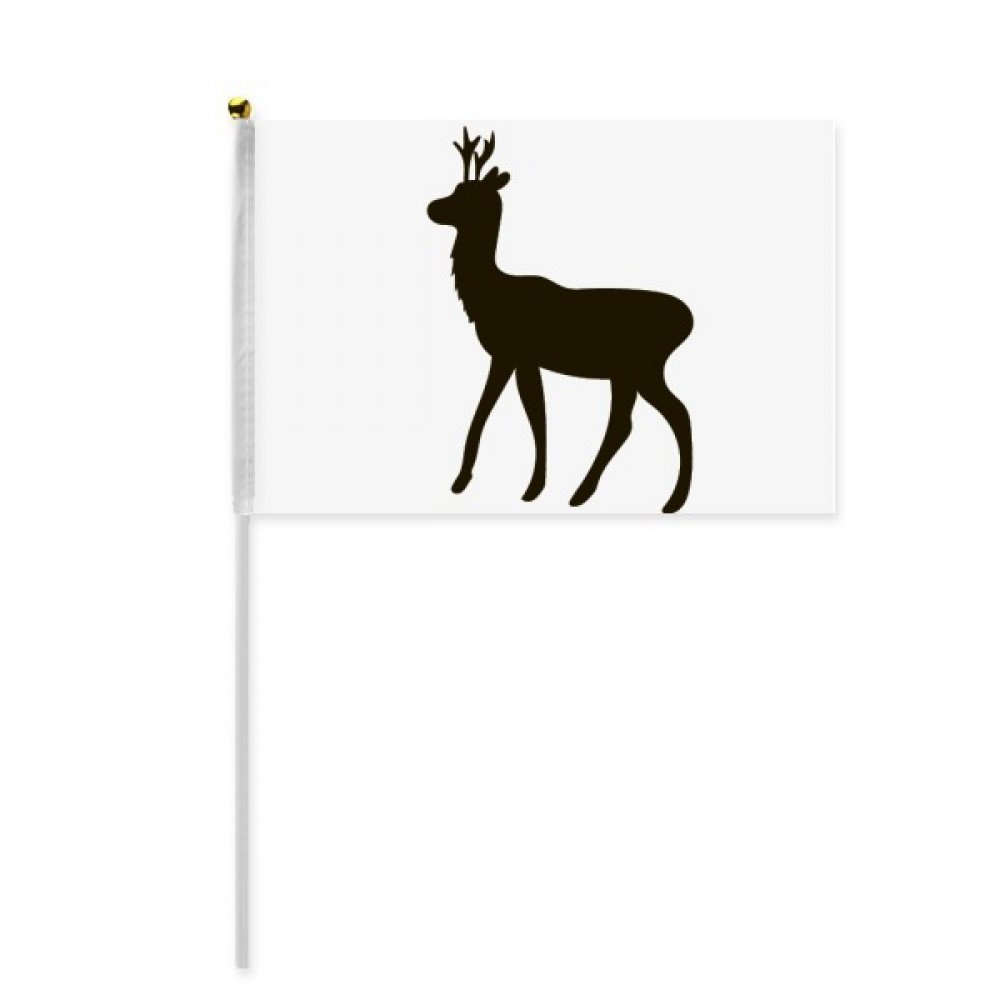 Black Roe Deer Animal Portrayal Hand Waving Flag 8x5 inch Polyester Sport Event Procession Parade 4pcs
