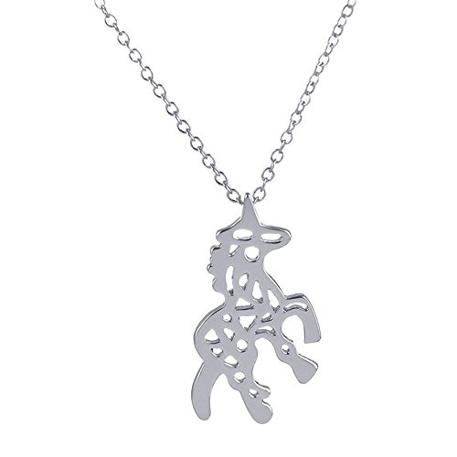 MUZHE Creative Hollow Unicorn Necklace - Animal Totem Necklace for Animal Lovers (Silver)