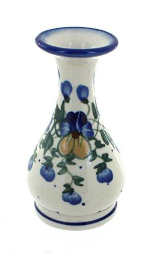 WR Unikat Blue Rose Polish Pottery Pansies Bud - Hand Bud Vase Painted