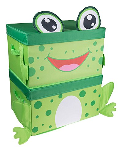 Cute Frog Stackable Storage Organizer by Clever Creations | Collapsible Storage Box for Any Room | Perfect Size Chest for Organizing Dog Toys, Clothes, Shoes and More! by Clever Creations
