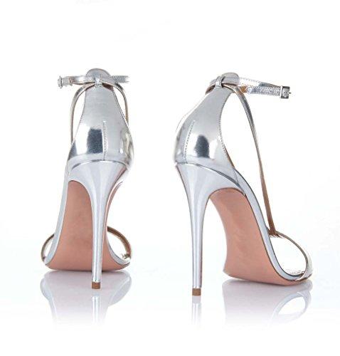 SHEO sandalias de tacón alto Plata de las mujeres de plata de patente de cinturón de cuero combinación de tacón alto sandalias La Plata