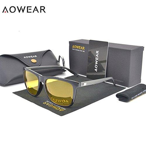 f5a38a162 BuyWorld AOWEAR HD Night Vision Glasses Men Aluminium Yellow Lens  Sunglasses Men Polarized Night Safe Driving Goggles Oculos Gafas De Sol:  Amazon.in: ...