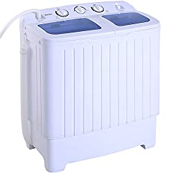 Giantex Portable Mini Compact Twin Tub Washing Machine Washer Spain Spinner (17.6lbs- Blue+ White)