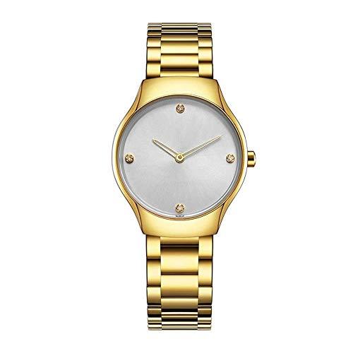 BEWITCHYU Practical Wristwatches Women 's Simple Ultra-Thin 8.5Mm Quartz Watch 28Mm Solid Steel Belt Casual Fashion Waterproof Decorative Watch BraceletGold