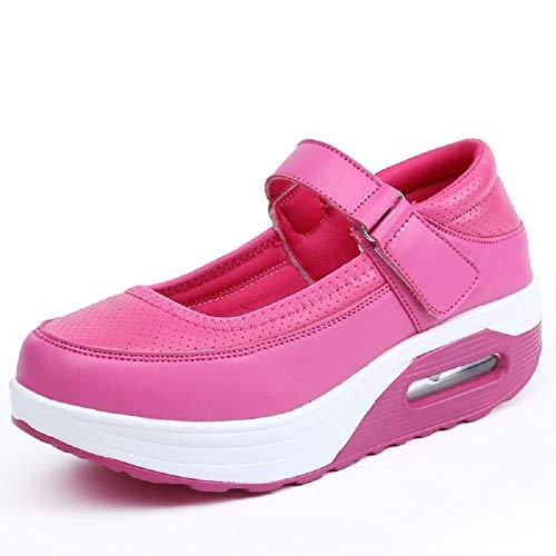 Qiusa Zapatos con Cordones de Mujer Hook Loop Rocker Sole Comfort Shake (Color : Blanco, tamaño : EU 39) Rojo