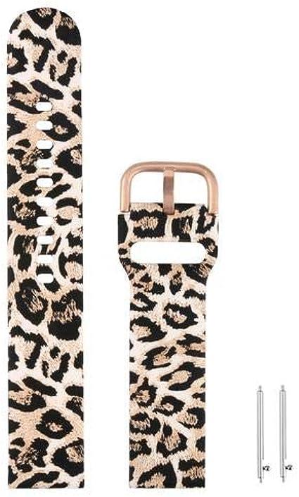 Correa de repuesto de silicona de 20 mm, diseño de leopardo, compatible con Samsung Galaxy Watch Active
