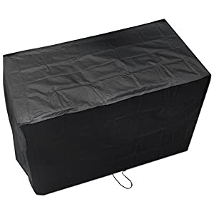 Woodside Black Waterproof Outdoor Garden Companion Seat Bench Cover Heavy Duty 600D Material 0.96m x 1.7m x 0.95m / 3.1ft x 5.6ft x 3.1ft 5 YEAR GUARANTEE