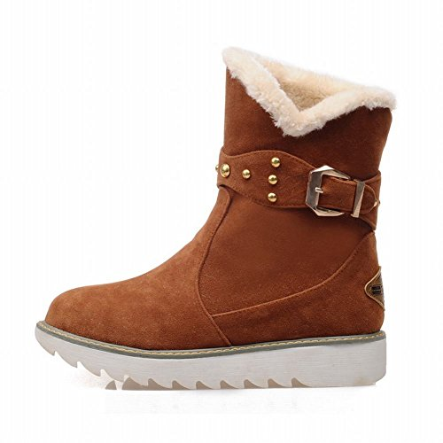 Latasa Womens Fashion Nubuck Faux Fur Lined Studded Buckle Platform Low Heel Short Cold Weather Winter Snow Boots Yellowish Brown JIuvV6VM