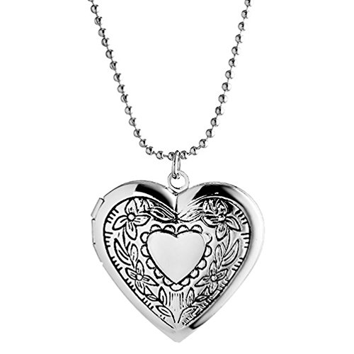 (Sojewe Children Engraved Heart Locket Necklace for Women Photo Baby Picture Charm Silver-Tone)