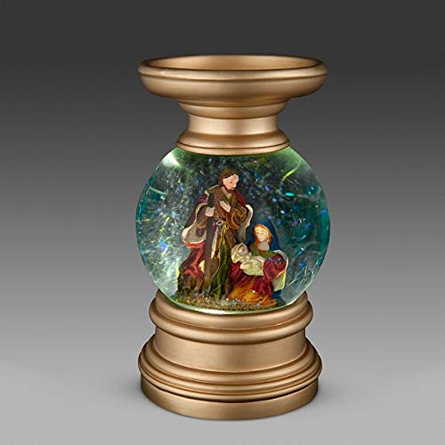 Lighted Religious Snow Globe Christmas Candle Holder Decoration (Nativity)