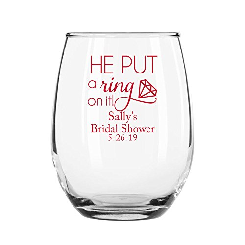 24 Pack Personalized Color Printed 9 Ounce Stemless Wine Glass - He Put A Ring On It - Red
