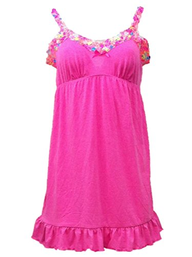 Joe Boxer Womens Pink Floral Lacy Chemise Knit Nightie Nightgown Gown (Pink Joe Boxer)