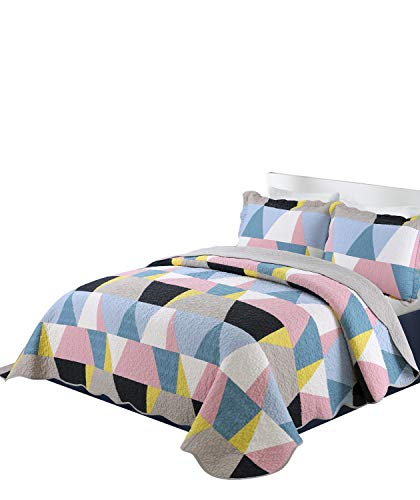 vivinna home textile Cotton Bedspread Coverlet Set -3pcs Quilt set-patchwork Bedspread blanket (Geometry, Queen:90