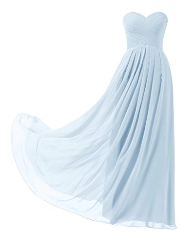 Ball Abschlusskleid Elegant Abendkleider 139 Lange Brautjungfernkleider Trägerlos Blau Baby Abiball Chiffon HX0qWwEg