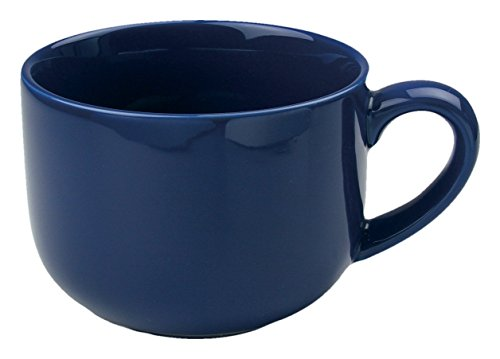24 ounce Extra Large Latte Coffee Mug Cup or Soup Bowl with Handle - Navy Blue ()