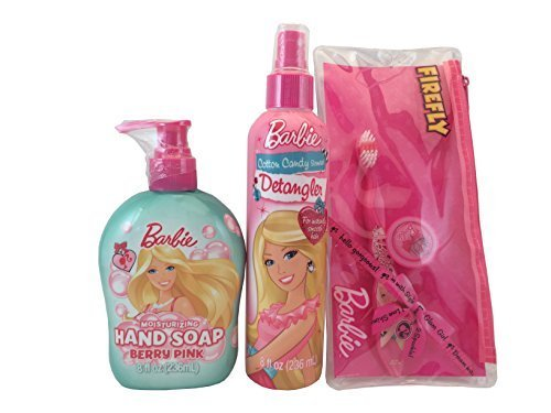 Barbie Cotton Candy Scented Detangler, Barbie Hand Soap and Travel Toothbrush and Floss-3 Piece Bundle