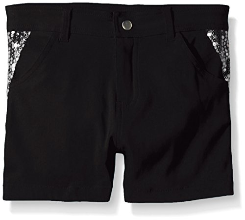 Dream Star Big Girls Super Stretch Twill Short with Sequin Piecing, Black, (Super Stretch Short)