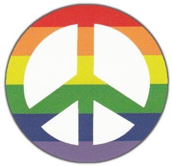 Rainbow Color Peace Sign Hippy Support Peace Anti War Gay Pride Sticker - Hippy Colors