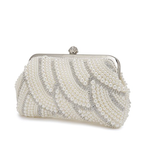 Women's Pearl Beaded Evening Bags Clutch Bags Handmade Wedding Bags for Wedding Party Chain Bag by XINDI