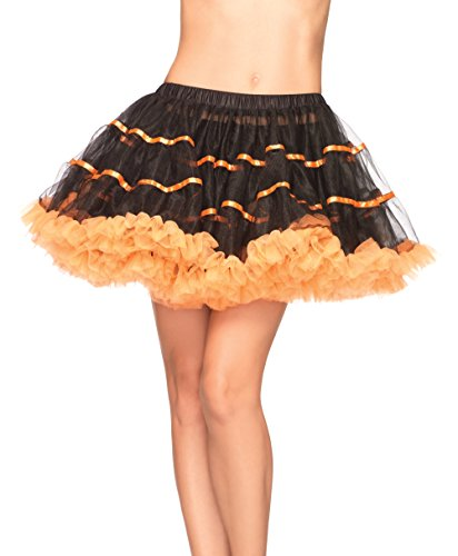 (Leg Avenue Women's Layered Striped Petticoat Dress, Black/Orange, One)